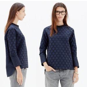 Madewell mood dot shirt top small navy raglan